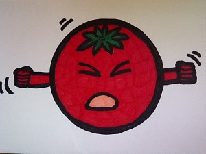 angry red tomato face